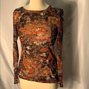 INC Long Sleeve Shirt with Flower Design size M